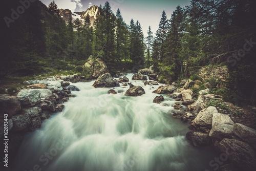 Fotobehang Bergrivier Alpine River Val Ferret Scenery