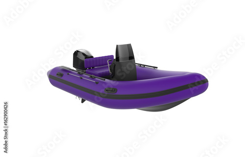 purple, rubber, inflatable rowing boat, isolated on white background