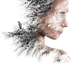 Double exposure portrait of young woman and pine with black crow.