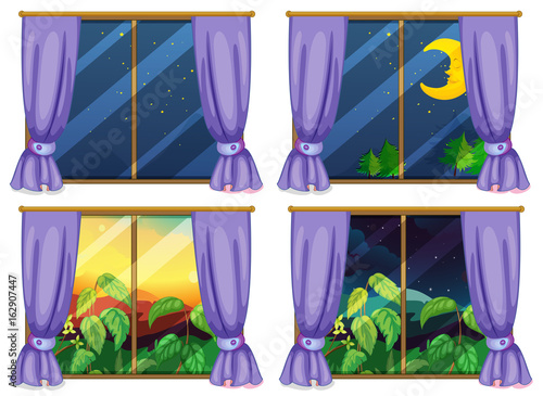 Four window scenes day and night