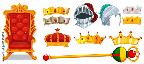 Crowns and knight helmet