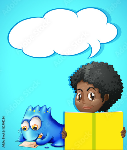 Speech bubble template with girl reading book