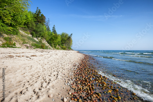 Rozewie  Sand and Pebble Beach on Baltic Sea in Poland