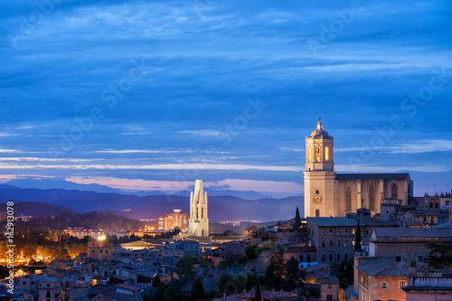 City of Girona Twilight Cityscape in Catalonia, Spain