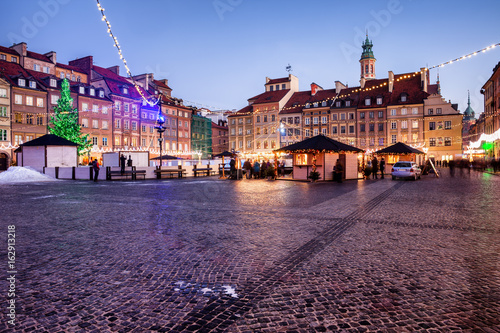 Evening at Old Town Market Square in Warsaw, Poland