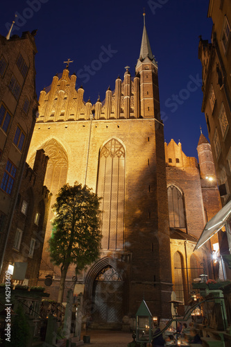 St Mary Church in Gdansk at Night, View from Mariacka Street, Poland