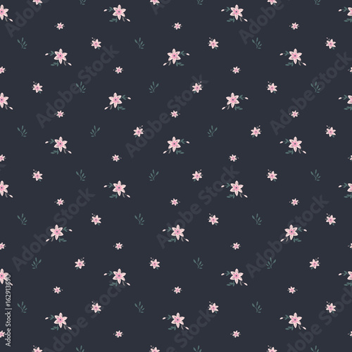 Cute floral print in small flower. Vector seamless pattern. - 162913690