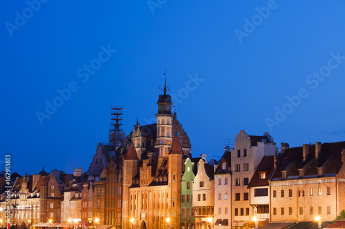City Skyline of Gdansk at Night in Poland