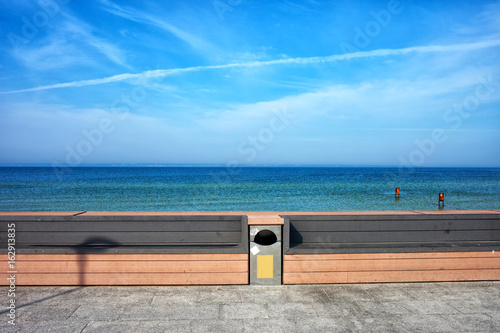 Benches at Baltic Sea Waterfront in Poland