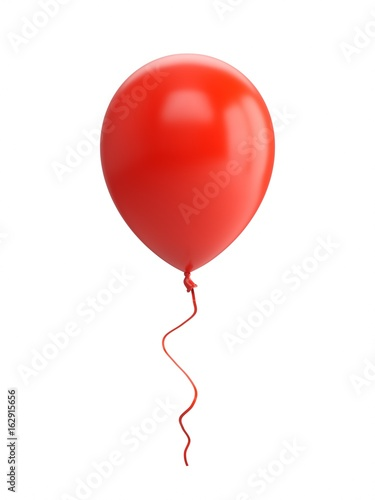 3D Rendering red Balloon Isolated on white Background