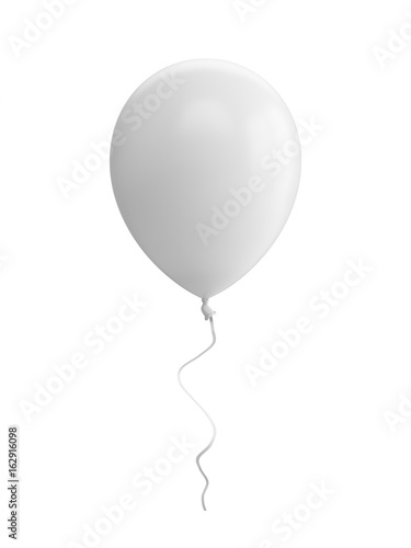 3D Rendering white Balloon Isolated on white Background