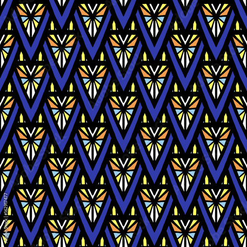 Cotton fabric Summer african pattern vector seamless. Abstract geometric triangle mosaic texture. Tribal background print for ethnic fabric, wallpaper, blanket, wrapping paper and boho card template.