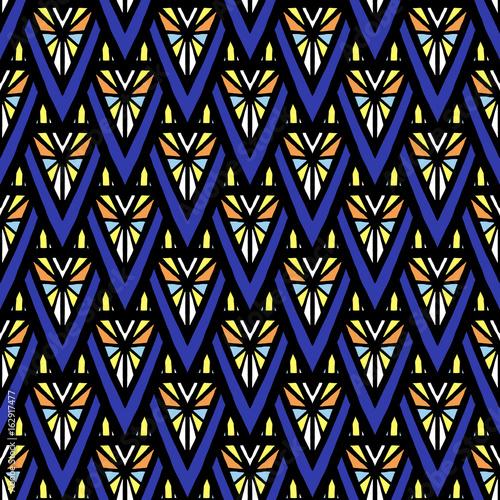 Materiał do szycia Lato bez szwu wektor wzór Afryki. Streszczenie tekstura mozaiki geometrycznej trójkąta. Tribal tła wydruku dla etnicznych tkaniny, Tapety, koc, zawijanie papieru i boho szablonu karty.