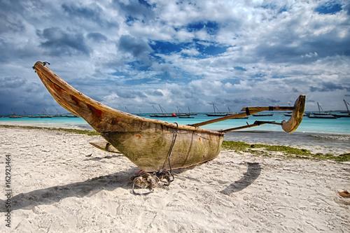 Zanzibar boat on the beach.