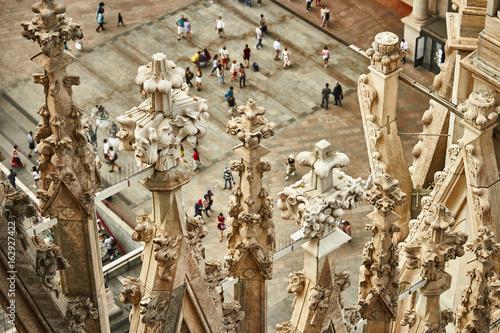 Foto op Canvas Milan Milan Cathedral rooftop detail