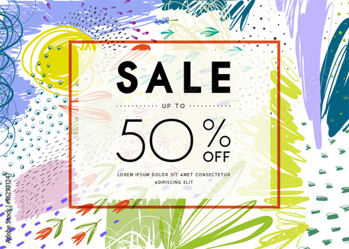 Sale banner template design. Vector illustration. - 162931247