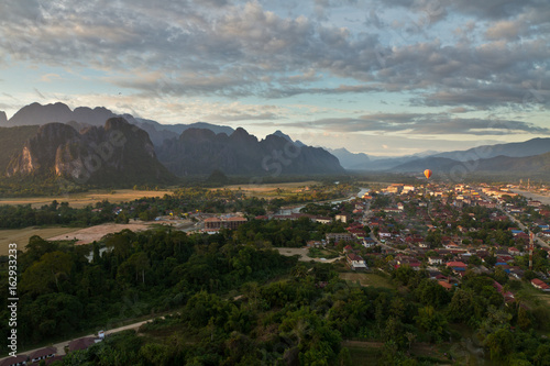 Landscape of Vang Vieng, Laos - Hot air baloon in the sky