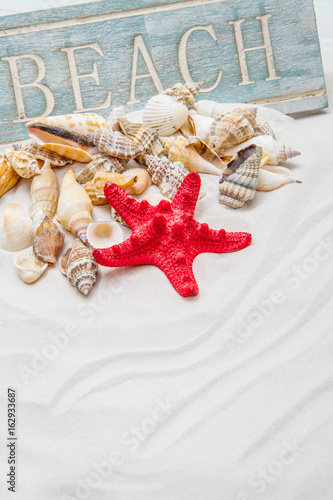 Summer background with white sand, starfish and shells