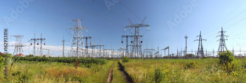 Panorama of high voltage substation. Distribution electrical power.