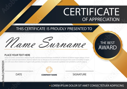 Gold And Black Elegance Horizontal Certificate With Vector