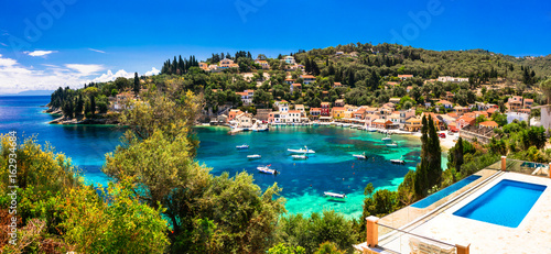 summer holiday in Greece - picturesque Loggos village in Paxos island