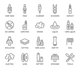 Set of Minimal Vape Vaping Culture Vector Line Icons. Perfect Pixel. Thin Stroke. 48x48. - 162935885