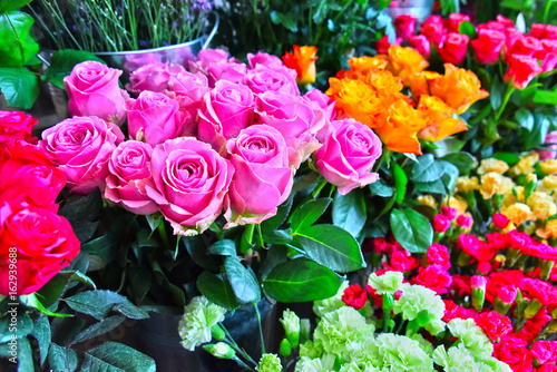 Roses in flower shop.
