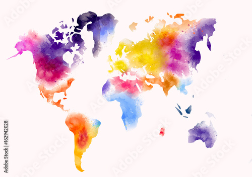 Canvas Wereldkaarten world map watercolor paint