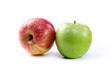 Red apple and green apple on white background
