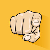 Male hand pointing finger at you over yellow background - 162952038