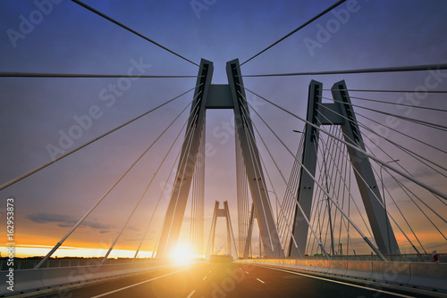 Sunrise on the new bridge in the Cracow