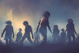 halloween concept of zombie crowd walking at night, digital art style, illustration painting - 162954012