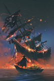 Fototapety the pirate with burning torch standing on boat with treasure looking at sinking ship, digital art style, illustration painting