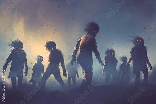 halloween concept of zombie crowd walking at night, digital art style, illustration painting © grandfailure