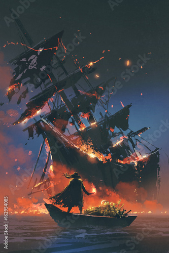the pirate with burning torch standing on boat with treasure looking at sinking ship, digital art style, illustration painting © grandfailure