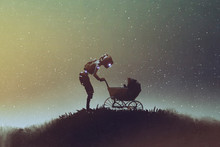 """Постер, картина, фотообои """"young robot looking at baby in a stroller against starry sky, digital art style, illustration painting"""""""