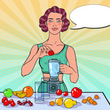 Fototapety Pop Art Young Woman Making Smoothie with Fresh Fruits. Healthy Eating. Dieting Vegeterian Food Concept. Vector illustration