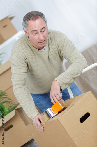 tired man based on carton box