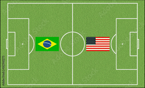 Brazil vs. England in USA with flags of the two Nations