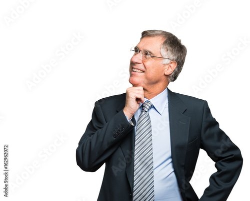 Businessman looking at the white copy-space