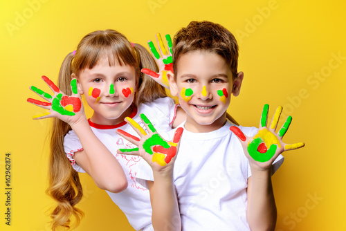 colorful finger paints