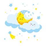 Cute cartoon półksiężyc spania na chmurze. Ilustracja wektora nadaje się do kart z pozdrowieniami i nadruków na koszulkach.
