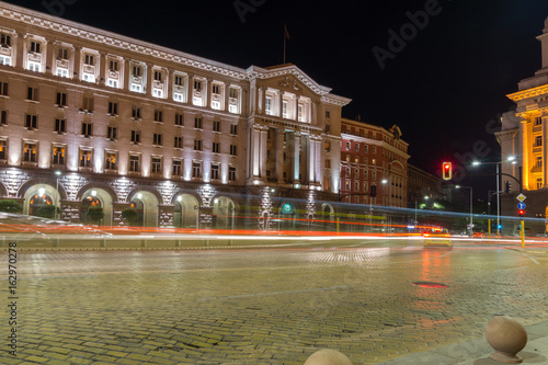 SOFIA, BULGARIA - JUNE 30, 2017: Night photo of Building of Council of Ministers in Sofia, Bulgaria
