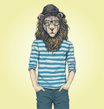 Hipster Lion Vector Illustration