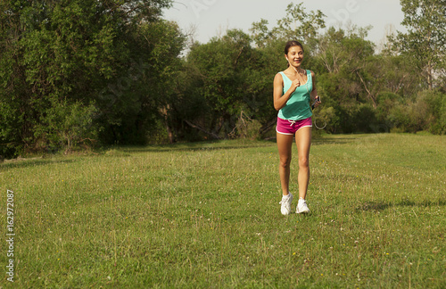 Girl running, evening jogging