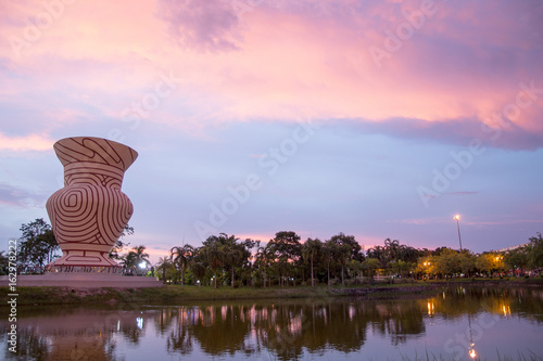 Foto op Aluminium Lichtroze landscape and sunset