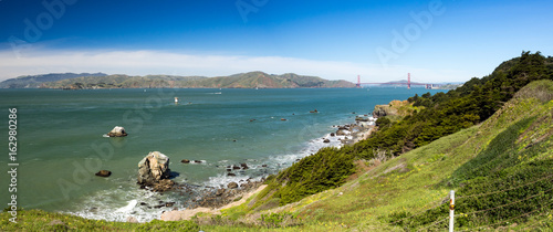 Pacific Ocean and Golden Gate Bridge from Land's End, San Francisco, California