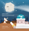 Telescope  with observatory and moon vector and illustrtion design - 162981413