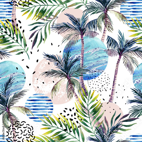 Abstract summer geometric seamless pattern. - 162984051
