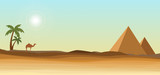 desert with pyramid and palm - 162987485